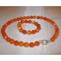 Collar Y Pulsera De Piedras Ágatas Naranja Y Plata