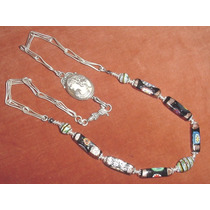 Unico Collar Cadena Plata 925 Camafeo Dama Cuentas De Murano