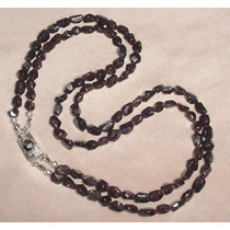 Plata 900 Collar Dos Vueltas Gemas Naturales Granate Garnet