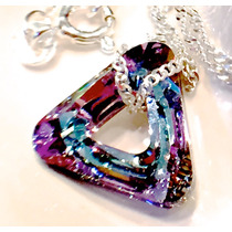 Collar Flores Swarovski Elements Cadena Plata 925 Maciza