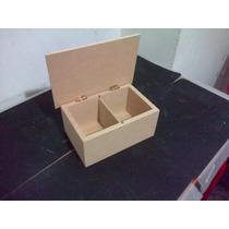 Caja De Te X 2 Divisiones C/tapa Fibrofacil Artesanias