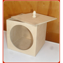 Cajas Galletitas En Fibrofacil Con Visor Y Vidrio 15x15 Cm.