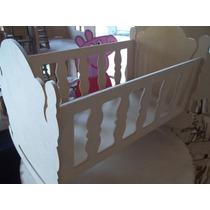 Cuna Grande Para Muñeca Barbie En Fibrofacil 46x28x34