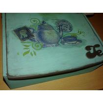 Caja De Té 6 Divisores Artesanal Vintage Decoupage