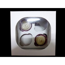 Caja De Cartulina Blanca Para 4 Cupcakes
