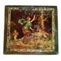 Antigua Caja Alhajero Joyero Francés Pintura En Cuero C 1890