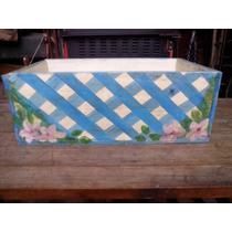 Hermoso Cajón Antiguo De Madera, Pintado, Decorado #111