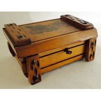 Vintage Caja Alhajero Costurero Madera Maciza