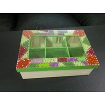 Caja De Te, 6 Compartimientos, Pintada A Mano, Con Vidrio.