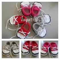 Zapatillas Tejidas Tipo Converse Talle Recien Nacido.
