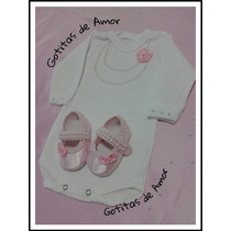 Zapatitos Nena +body Bautismo Eventos Nacimento, Baby Shower