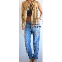 Pantalón De Jeans C/roturas/roto Boyfriend-amplio-f.leggins