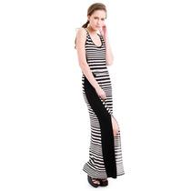 Vestido Negro C/rayas Marca Kill Acep Mercado Pago