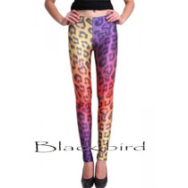 Calza Estampada Animal Print Leopardo Degrade Importada