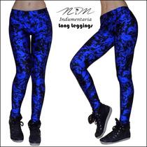 Calzas Deportivas / Long Leggins Azul Con Manchas De Lycra