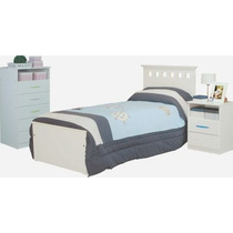Dormitorio Juvenil Cama 1 Pza+chifonier+mesa De Luz Mosconi