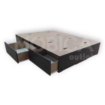 Box Sommier Cama 2 Plazas 4 Cajones 140x190 Blanco O Negro
