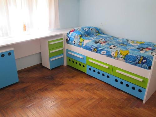 Camas infantiles juveniles nido puente div n desplazadas for Cama nido divan