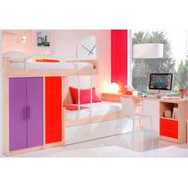 Dormitorio Camas Desplazadas + Cama Deslizante + Escritorio