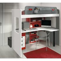 Dormitorio Juvenil Con Escritorio Y Escalera Cajonera