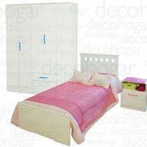 Cama Dormitorio Juvenil + Mesa Luz + Placard 5 Ptas Mosconi