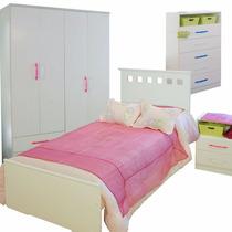 Dormitorio Juvenil Cama Mesita De Luz Chifon Placard Mosconi