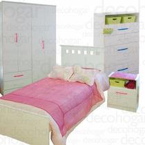 Dormitorio Juvenil Cama Placard Mesa Luz Chifonier Mosconi