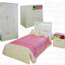 Dormitorio Juvenil Cama Comoda Placard Mesita De Luz Mosconi