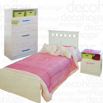 Dormitorio Juvenil Cama + Mesita De Luz + Chifonier Mosconi