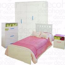 Cama Dormitorio Juvenil Mesa Luz Placard Chifonier Mosconi