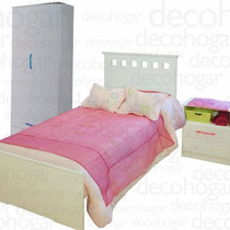Dormitorio Juvenil Cama +mesa Luz +placard 2 Puertas Mosconi
