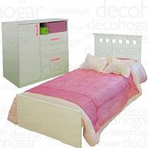 Dormitorio Juvenil Cama + Comoda 4 Cajones Y 1 Pta Mosconi