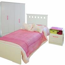 Dormitorio Juvenil Cama +mesa Luz +placard 4 Puertas Mosconi