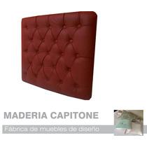 Respaldo Sommier Capitone Cama 1 Plaza Saldo Eco Cuero Rojo