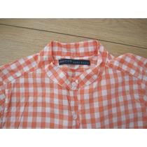 Camisa Divina Zara Cuadrille Naranja Y Blanca Cuello Mao