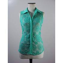 Divina Blusa Motivi Color Verde Agua Totalmente Calada-