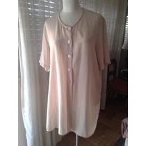 Camisa De Seda/crepe Color Crema