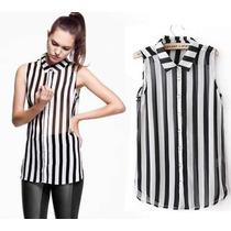 Camisa Importada Mujer Rayas Gasa Transparente Zara Calidad