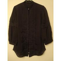 Camisa Zara Negra Plisada Con Mangas 3/4!! Importada! T.m!