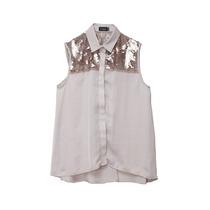 Camisa Sm Mujer Seda Lentejuela Paris By Flor Monis