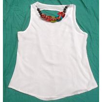 Camisa Blusa Blanca Con Collar Incorporado Nueva Talle M