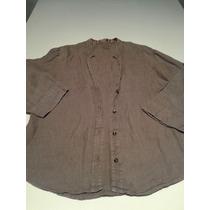Blusa Camisa Mangas Al Codo 100% Lino Talle M