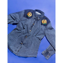 Camisa Denim Jean Mangas Largas Bordada Drole