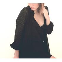 Camisa Gasa Crepe Combinada Con Gasa Foil Lunares