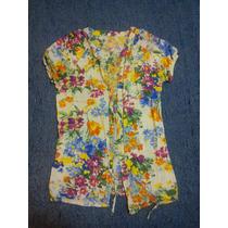 Camisa O Blusa Casual Floreada Con Cinturón
