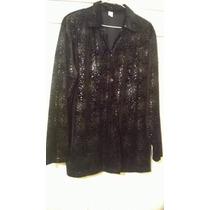 Camisa Blusa Negra De Señora, De Vestir Con Brillo T. 5