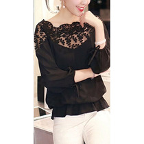 Camisa Asedada Con Encaje Negro