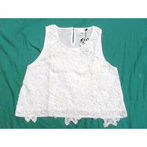 Preciosa Blusa Sin Mangas Blanca En Encaje Nueva Talle L