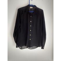 Camisa Nueva Sin Uso Negra Transparente Con Botones Dorados