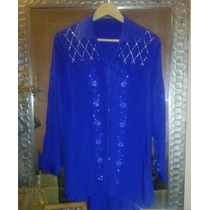 Camisa Azul,con Tachitas Delicadas. Luqidooo.